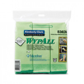 WYPALL* Microfibre Cloths with MICROBAN Antimicrobial Product Protection - Green