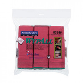 WYPALL* Microfibre Cloths with MICROBAN Antimicrobial Product Protection - Red