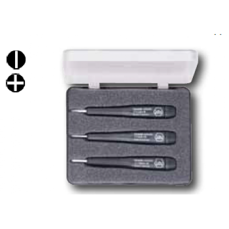 Wiha #Ceramic Slotted/Phillips Screwdriver 3 Pc. Set, With Wiha-Precision Handle, Out of Anti-static Plastic